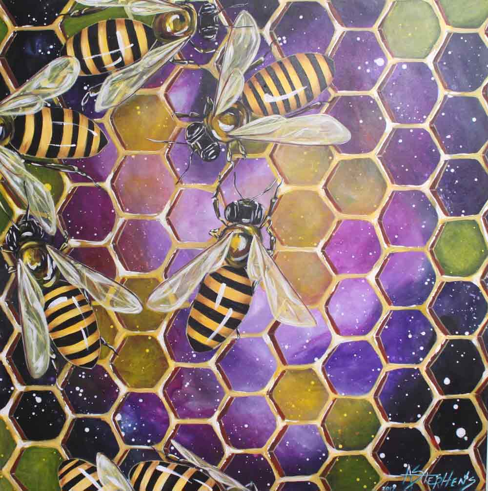 Painting of bees on honeycomb with purple cosmic background