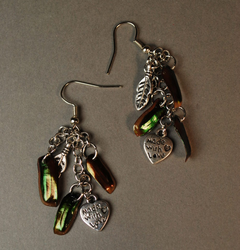 Two dangling earrings with iridescent green beetle wings and heart charms