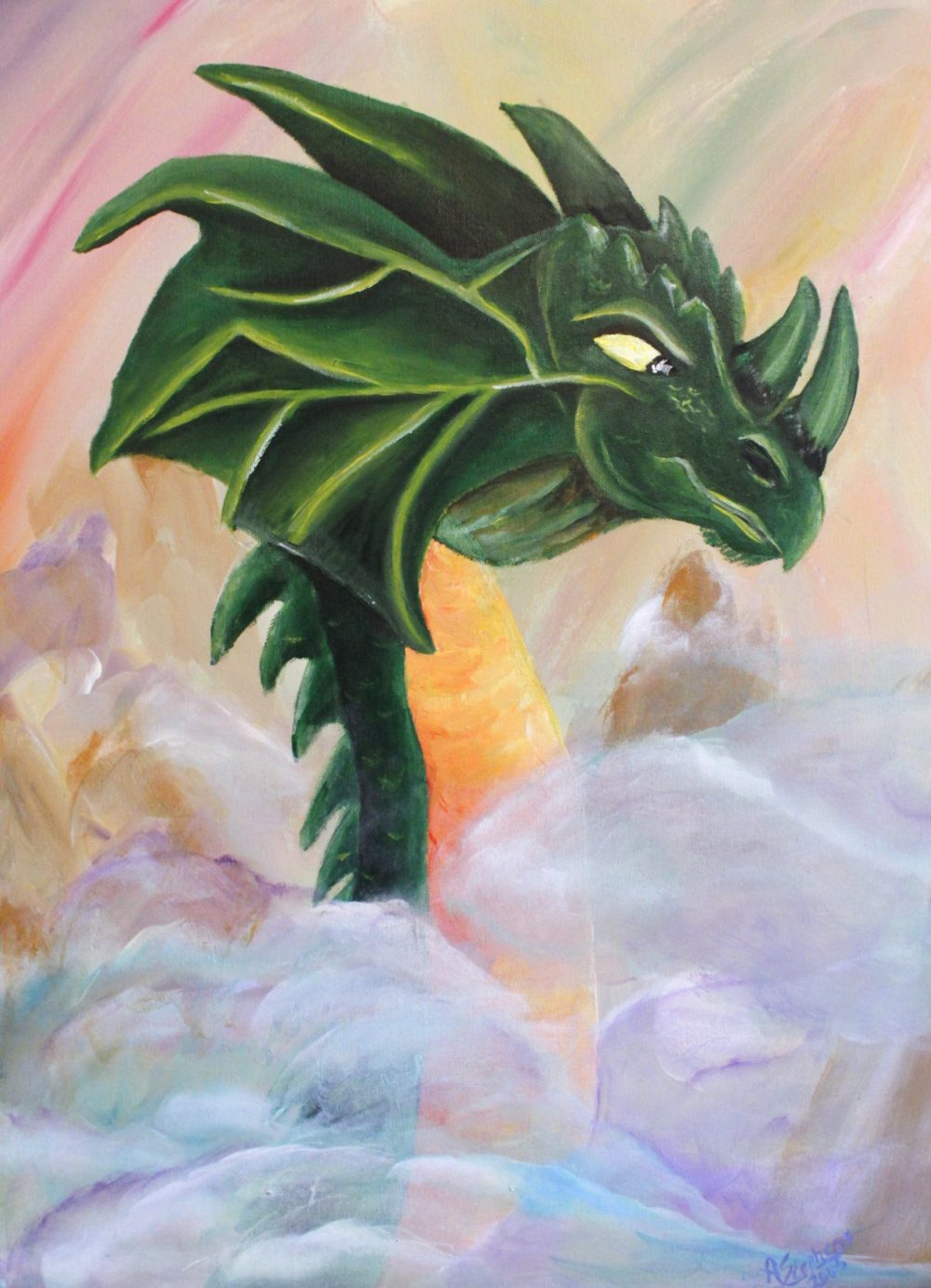 Painting of green dragon head poking through the clouds