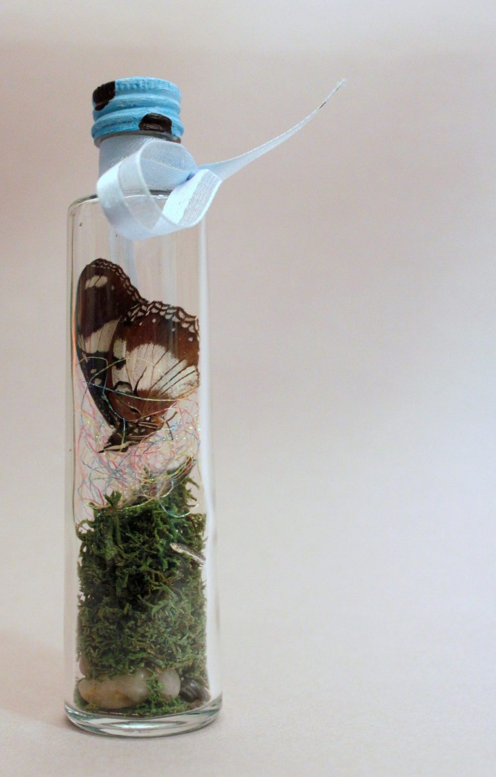 Butterfly atop pebbles and moss in a tall glass bottle
