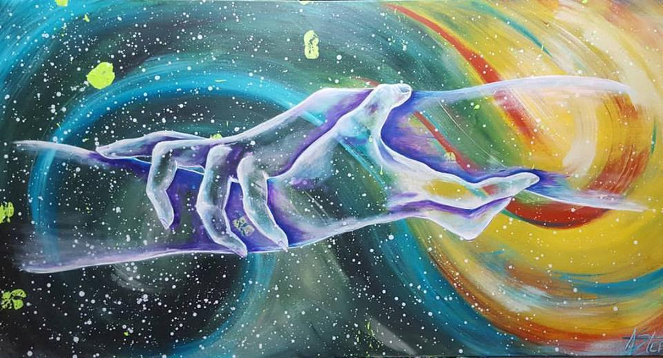 Multicolor cosmic and rainbow background with transparent grasping hands