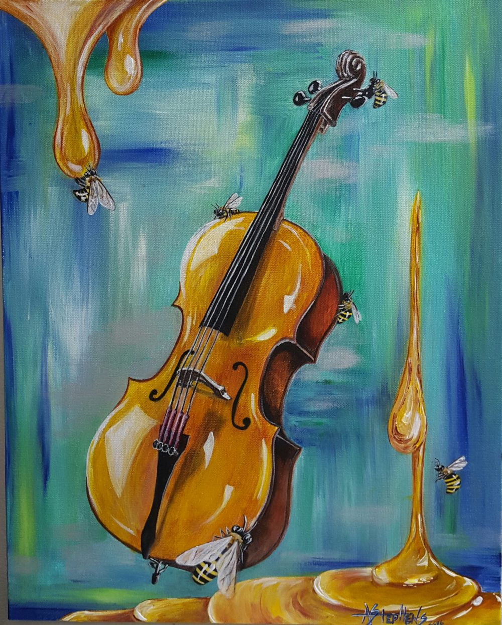 Painting of cello on blue background with dripping honey