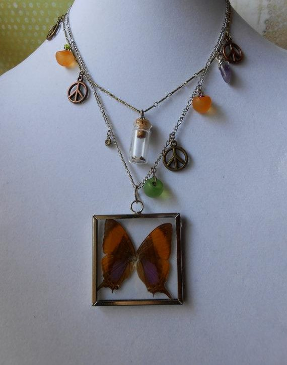 Real orange butterfly in square pendant on necklace with beads and peace charms