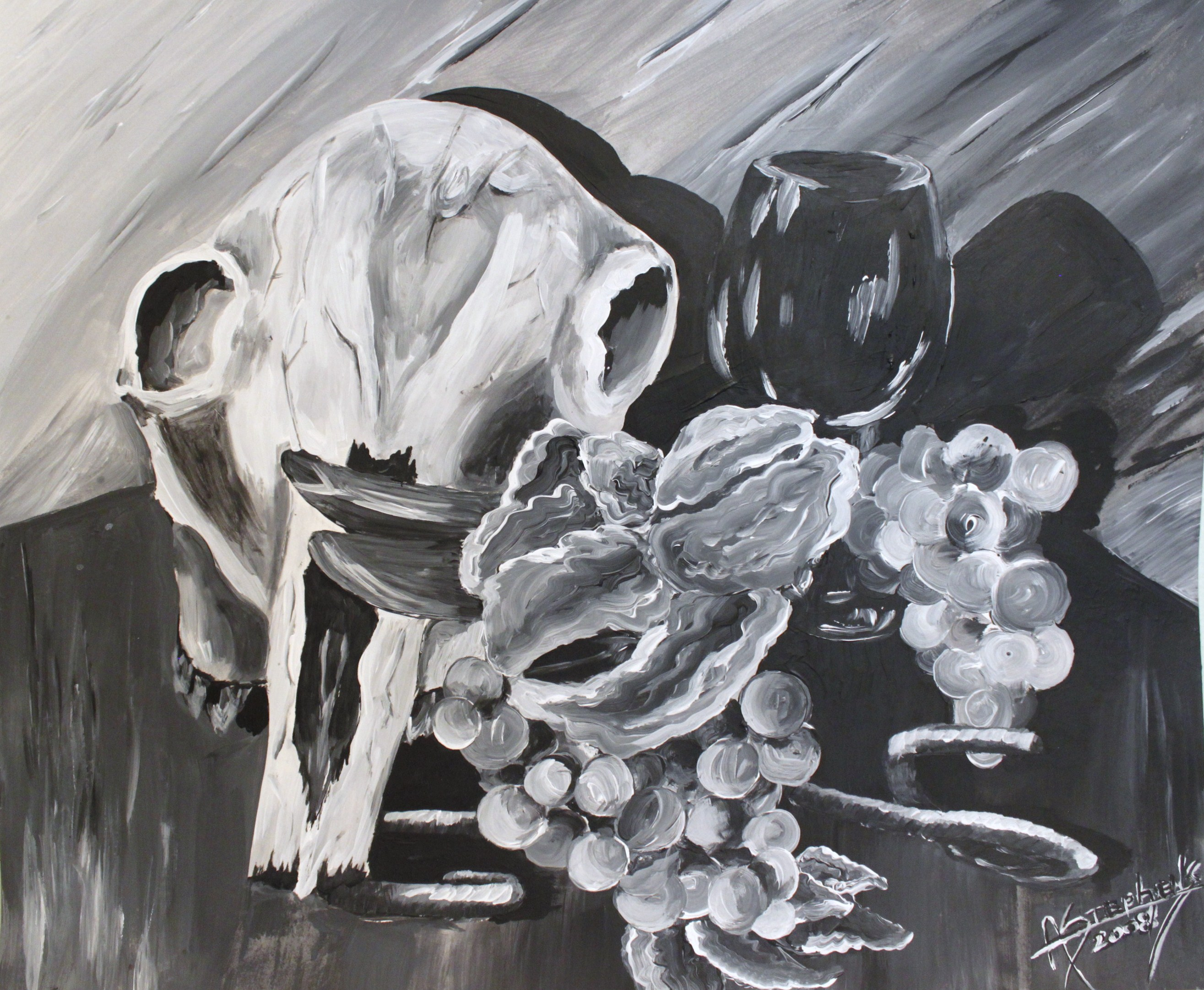 Black and white painting of animal skull, grapes, and wine glass