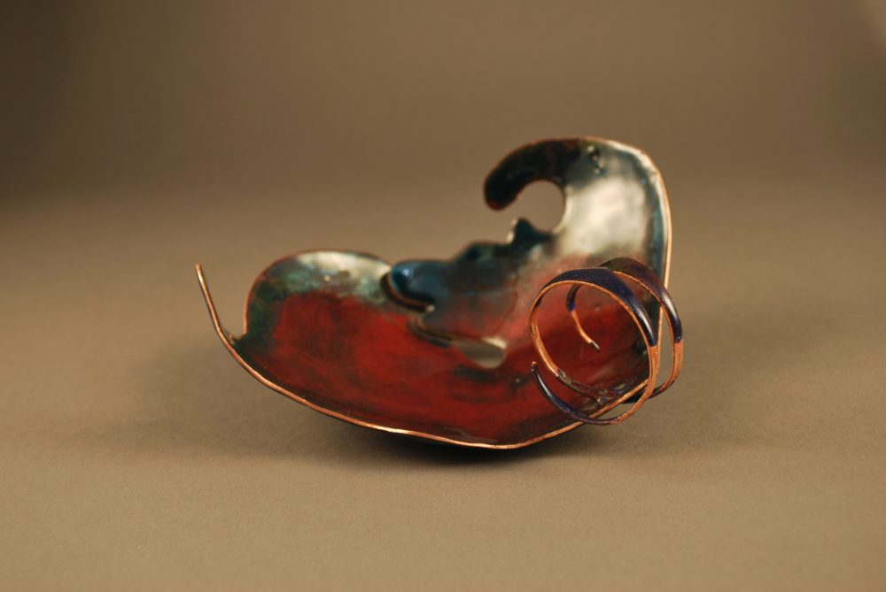 Patina copper bowl in wing shape with spiral design