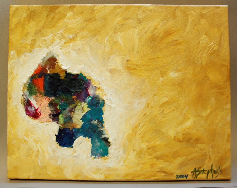 Painting with yellow background and multi-color abstract textural shape