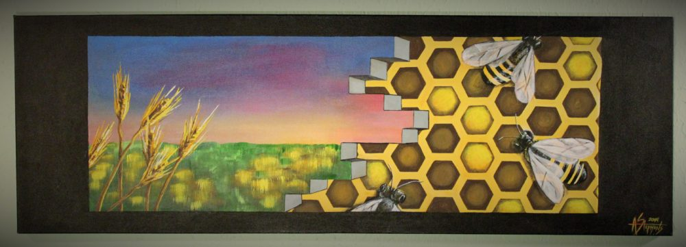 Long horizontal painting of honeycomb and bees on one side and wheat field at dusk